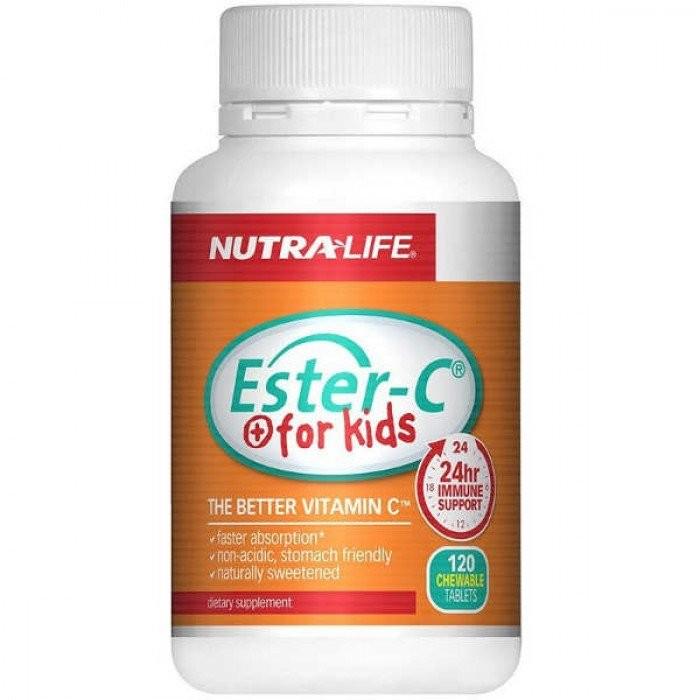 【限时特价】Nutralife 纽乐 儿童维生素C咀嚼片 酯化维C-24小时免疫支持 120粒 保质期至23.03