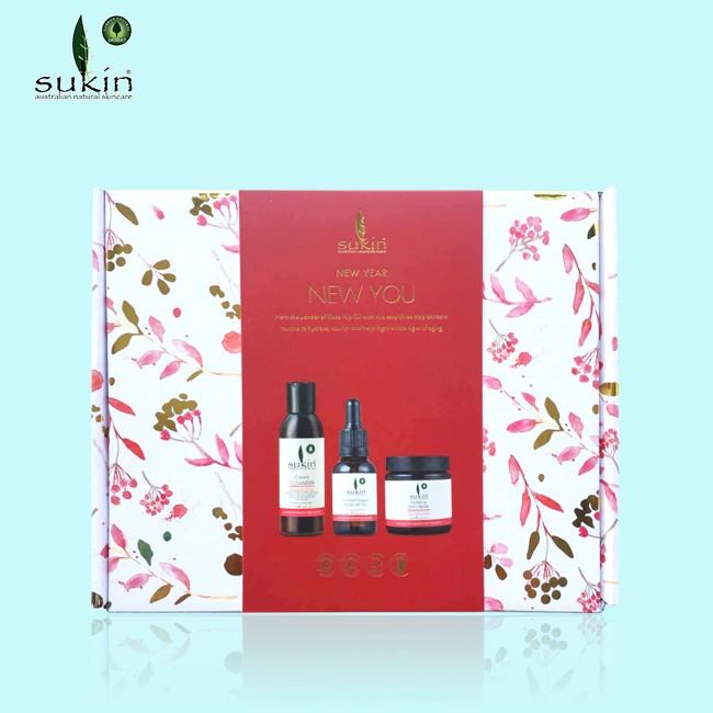 【最划算】Sukin 苏芊 新年礼盒套装(洗面奶125ml+玫瑰果油25ml+日霜120ml)