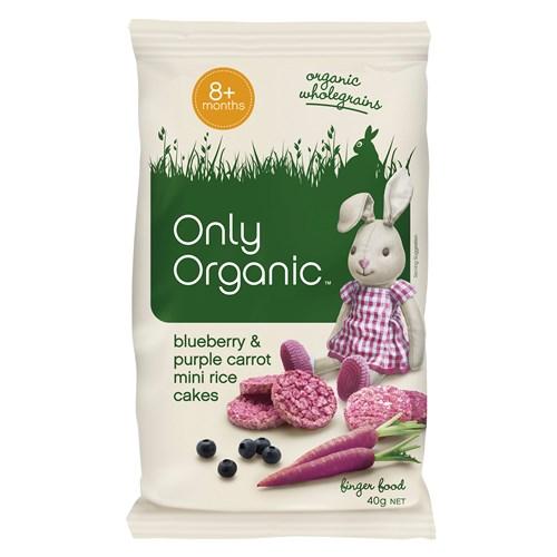 【超市采购】Only Organic 宝宝有机蓝莓胡萝卜米饼 8个月+ 40g(Purple Carrot)