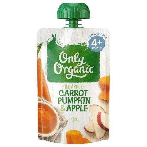 【超市采购】Only Organic 宝宝有机胡萝卜南瓜苹果果泥 4个月+ 120g(Carrot Pumpkin)